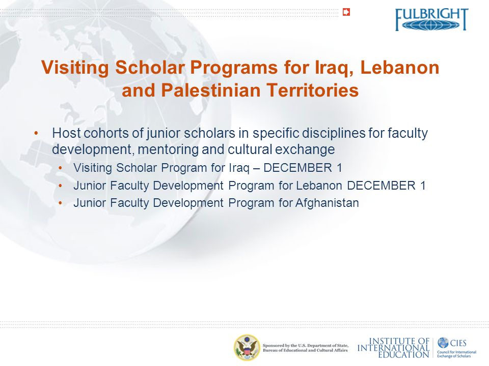 Visiting Scholar Programs for Iraq, Lebanon and Palestinian Territories