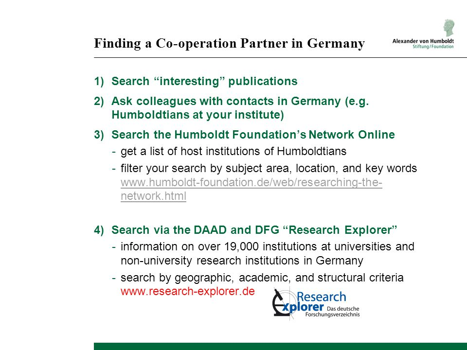 Finding a Co-operation Partner in Germany