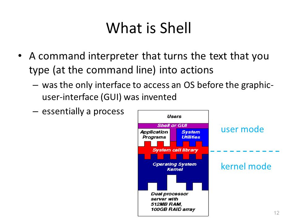 What is Shell A command interpreter that turns the text that you type (at the command line) into actions.