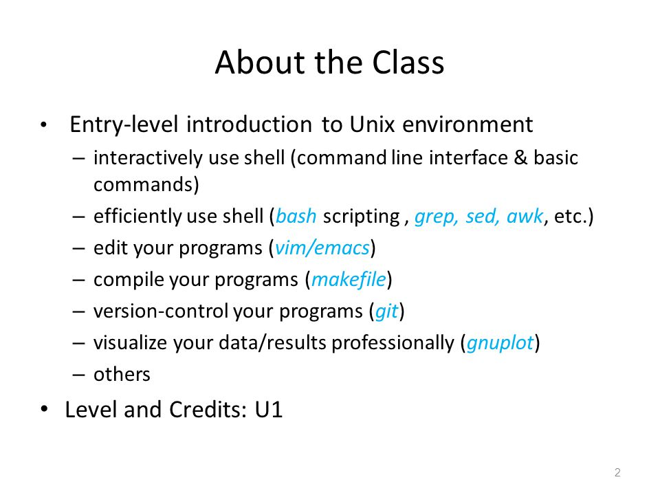 About the Class Level and Credits: U1