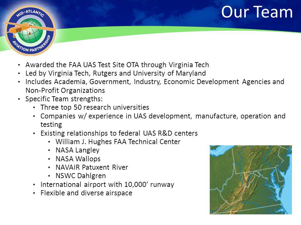 Our Team Awarded the FAA UAS Test Site OTA through Virginia Tech