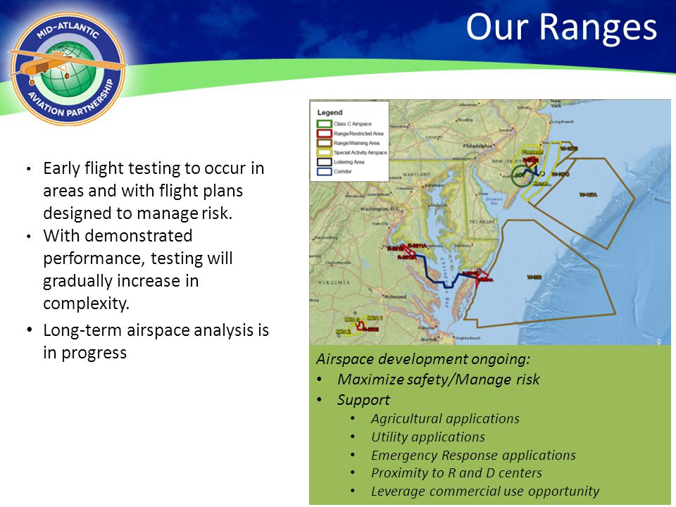 Our Ranges 4/13/2017. Early flight testing to occur in areas and with flight plans designed to manage risk.