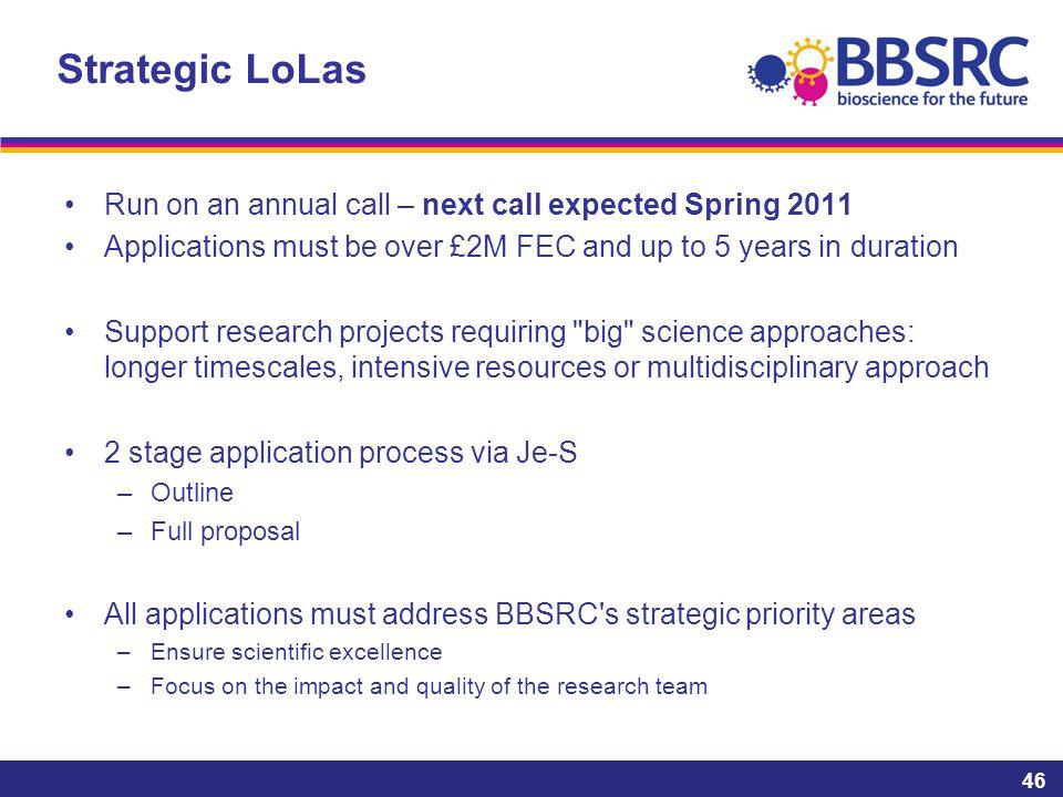 Strategic LoLas Run on an annual call – next call expected Spring 2011