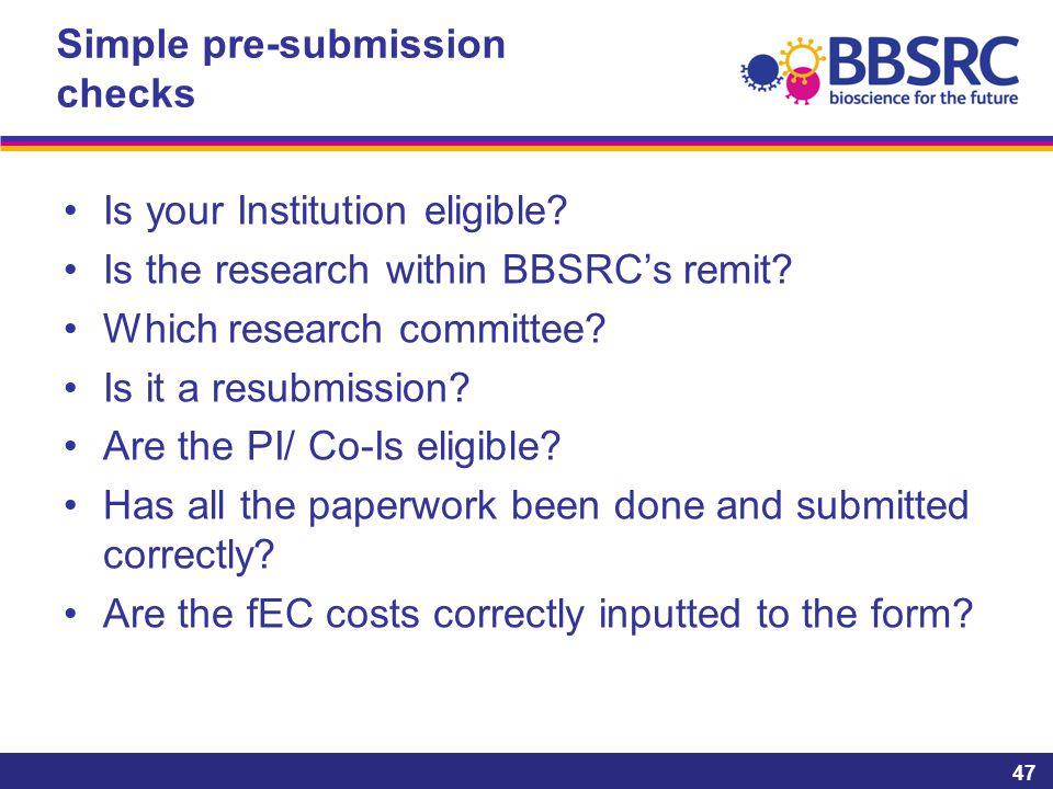 Simple pre-submission checks