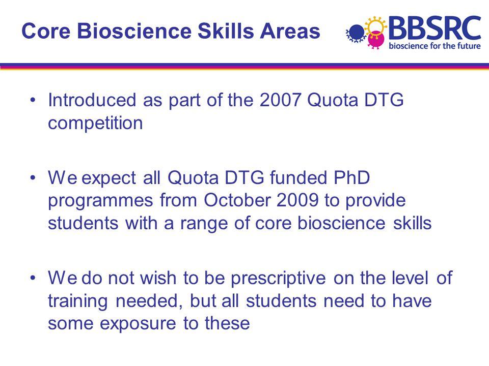 Core Bioscience Skills Areas