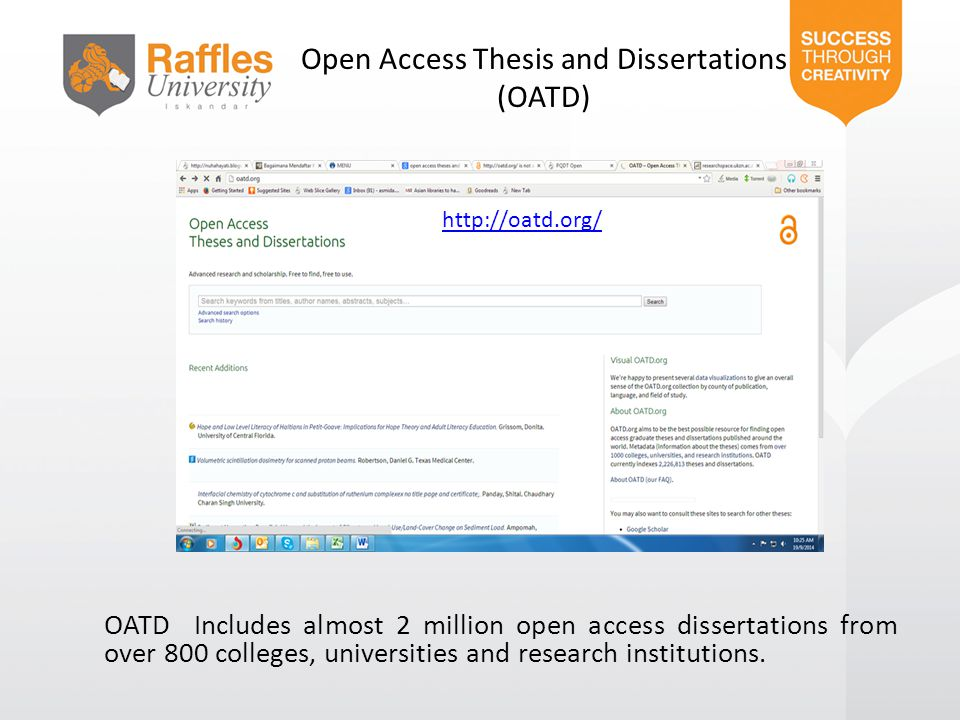 Open Access Thesis and Dissertations (OATD)