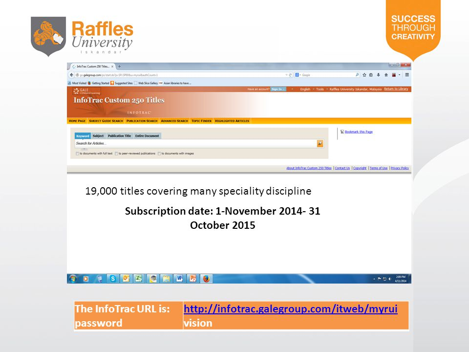 Subscription date: 1-November 2014- 31 October 2015