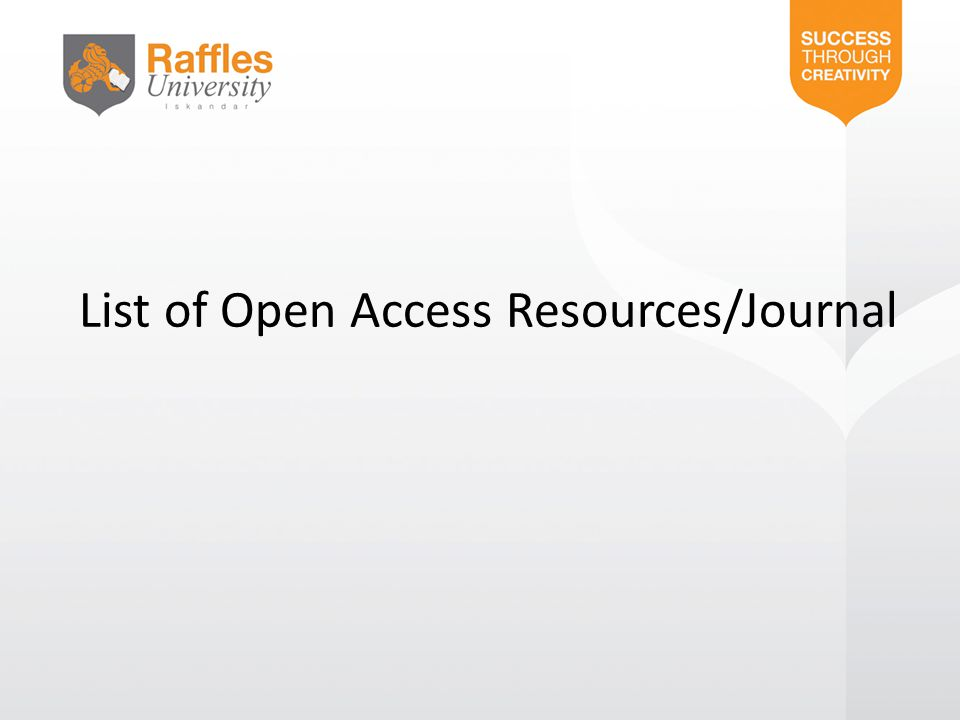 List of Open Access Resources/Journal