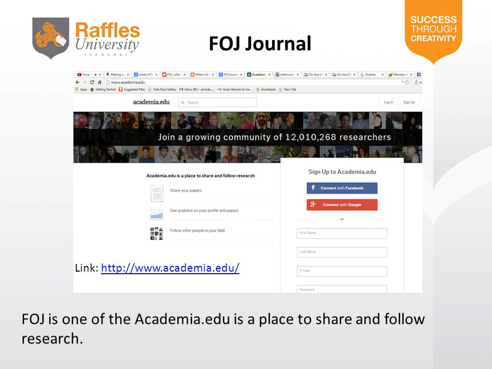 FOJ Journal Link: http://www.academia.edu/ FOJ is one of the Academia.edu is a place to share and follow research.