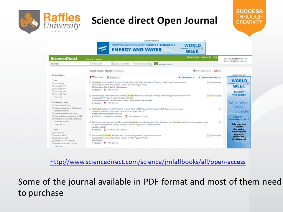 Science direct Open Journal