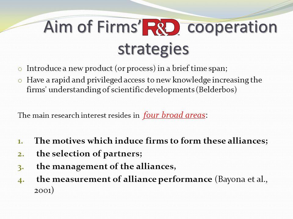 Aim of Firms' cooperation strategies
