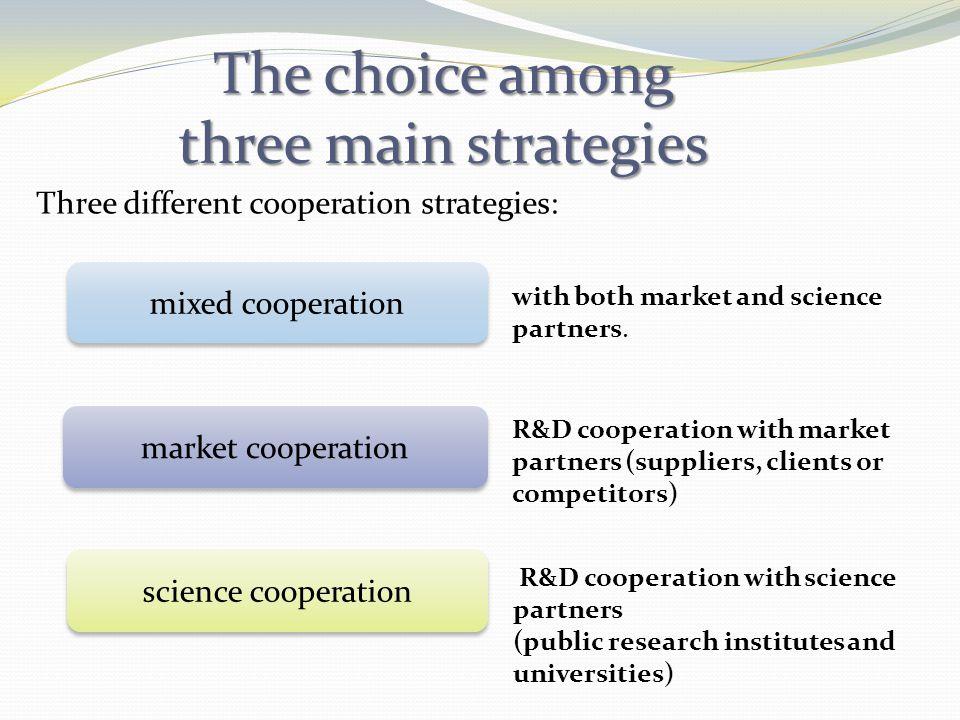 The choice among three main strategies