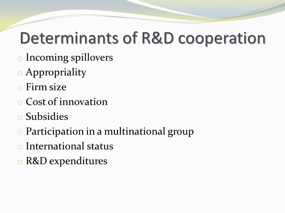 Determinants of R&D cooperation