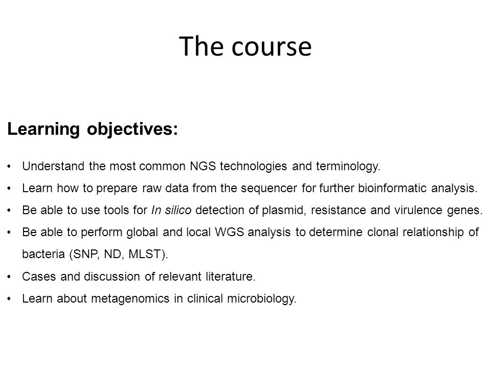 The course Learning objectives: