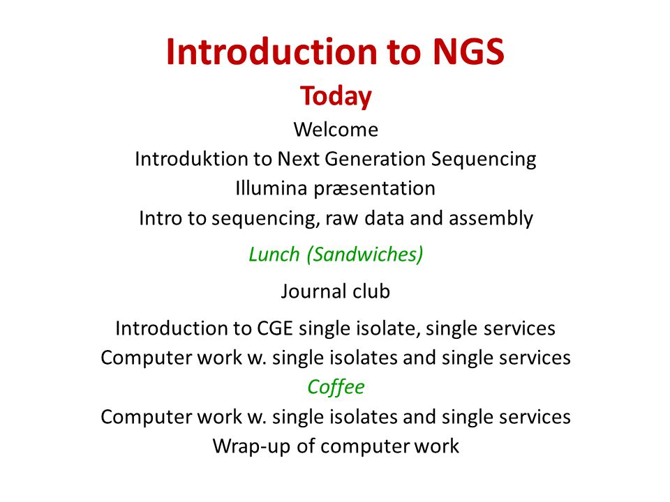 Introduction to NGS Today Welcome