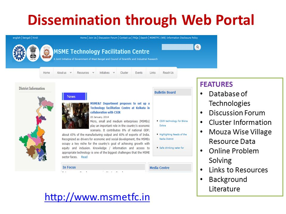 Dissemination through Web Portal