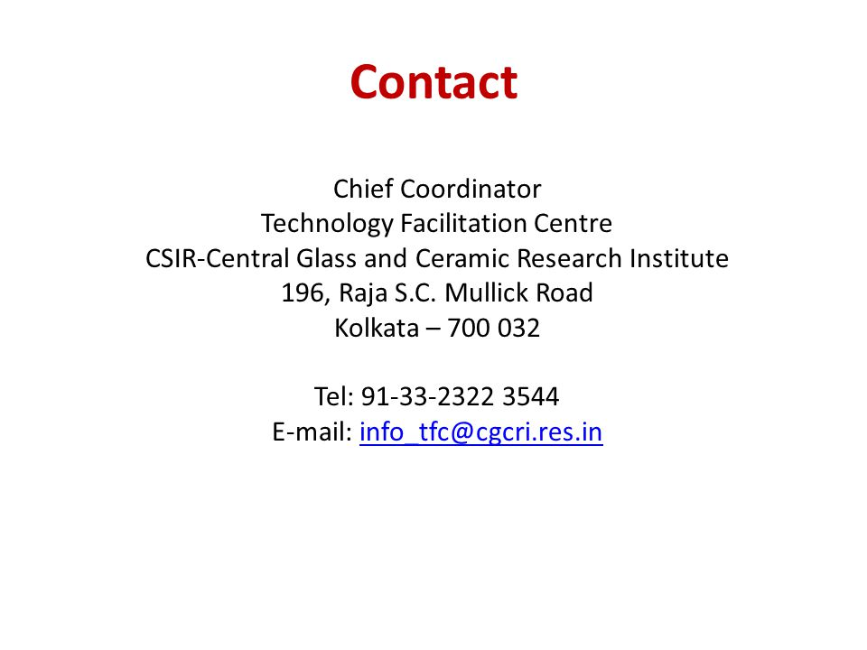 Contact Chief Coordinator Technology Facilitation Centre