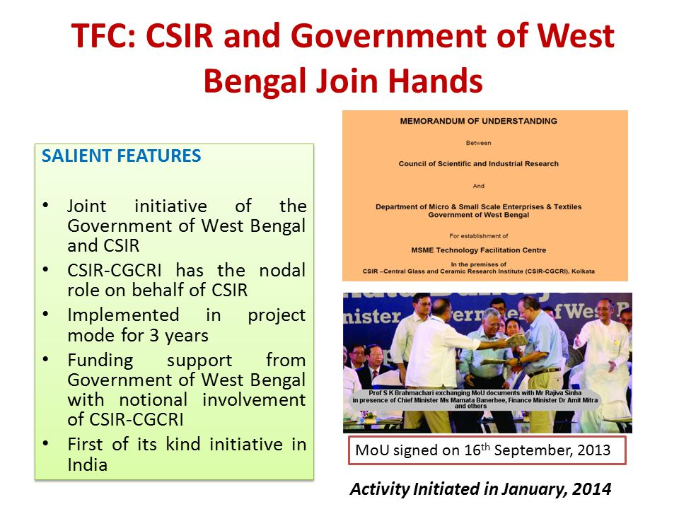 TFC: CSIR and Government of West Bengal Join Hands
