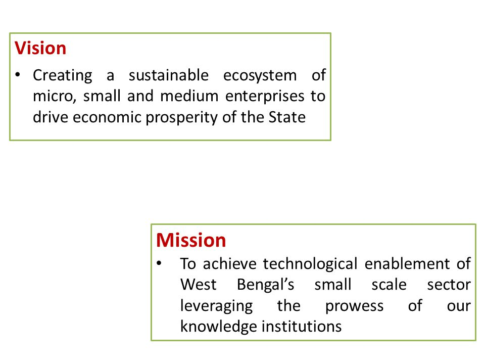 Vision Creating a sustainable ecosystem of micro, small and medium enterprises to drive economic prosperity of the State.