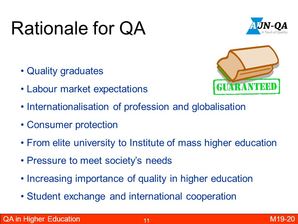 Rationale for QA Quality graduates Labour market expectations