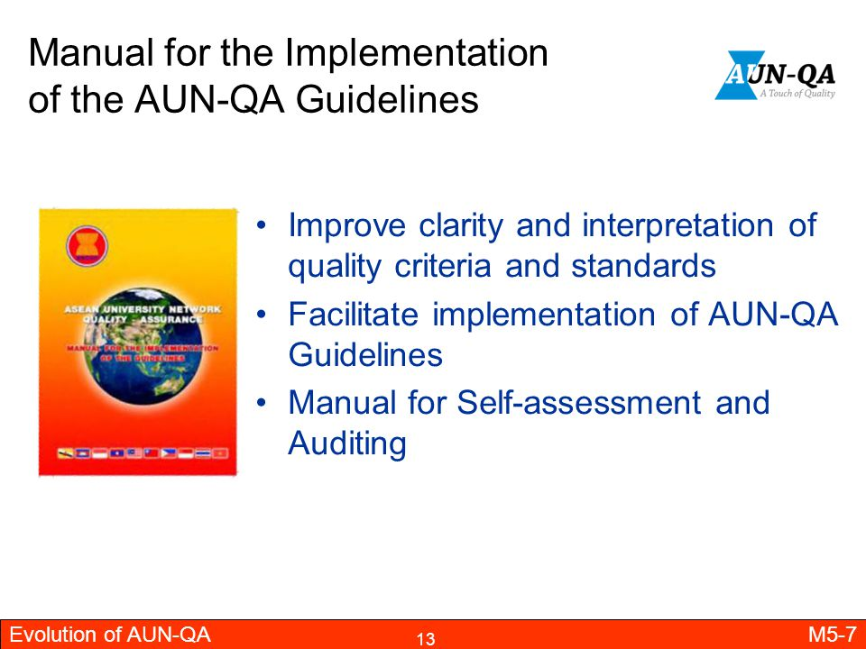 Manual for the Implementation of the AUN-QA Guidelines