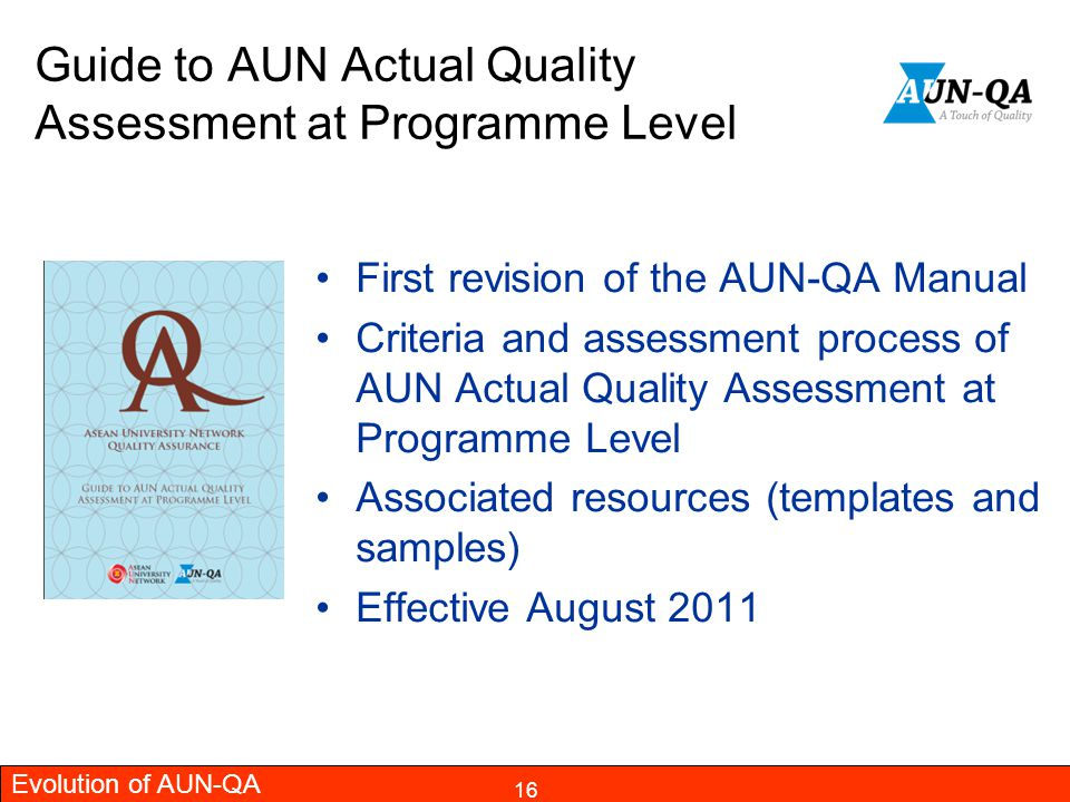 Guide to AUN Actual Quality Assessment at Programme Level