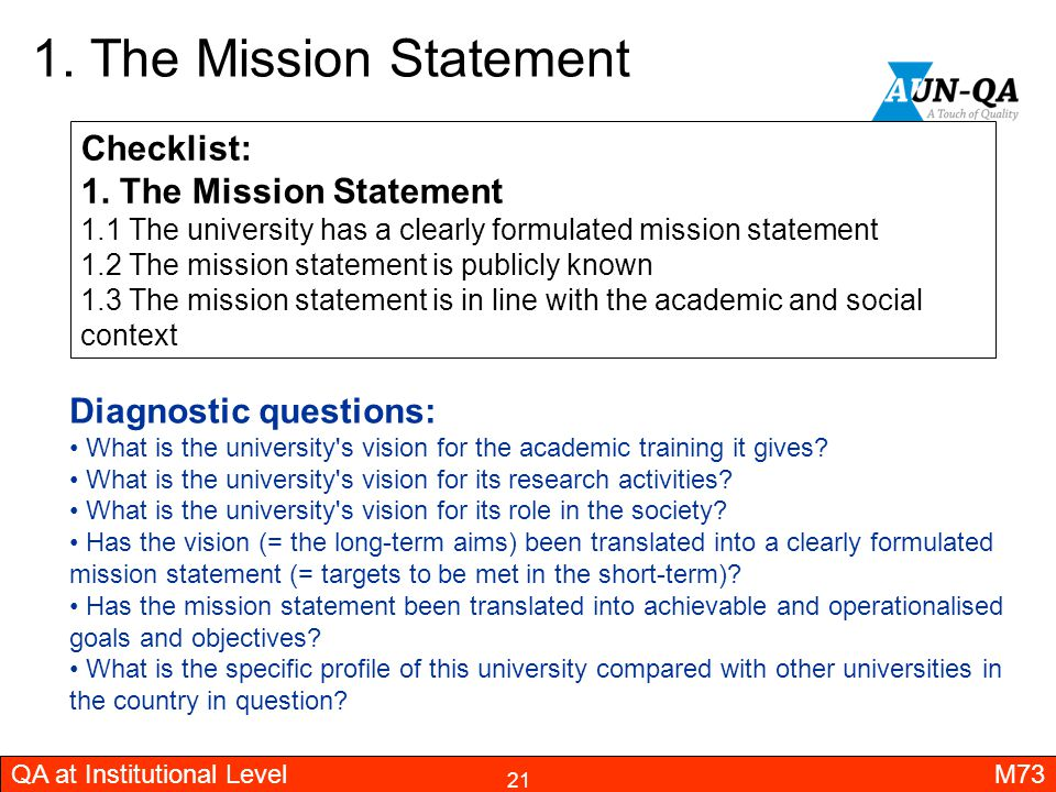 1. The Mission Statement Checklist: 1. The Mission Statement