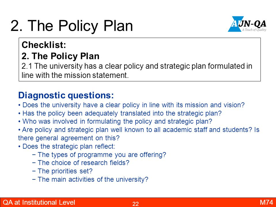 2. The Policy Plan Checklist: 2. The Policy Plan Diagnostic questions: