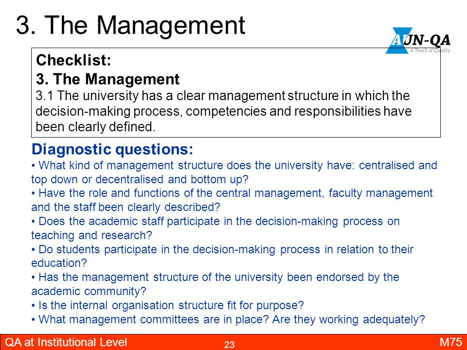 3. The Management Checklist: 3. The Management Diagnostic questions: