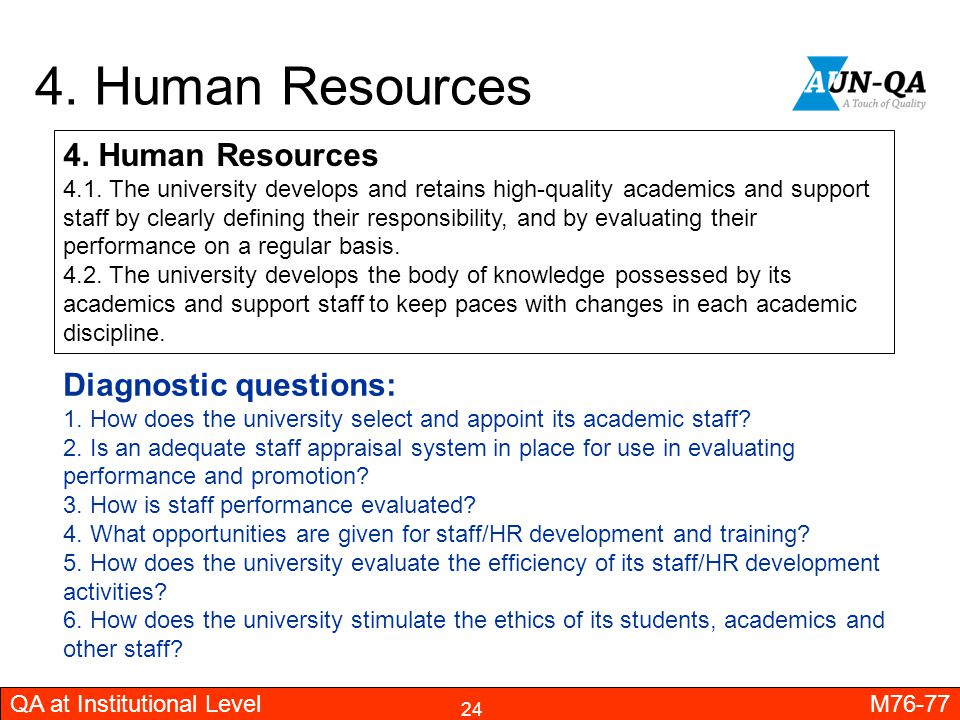 4. Human Resources 4. Human Resources Diagnostic questions: