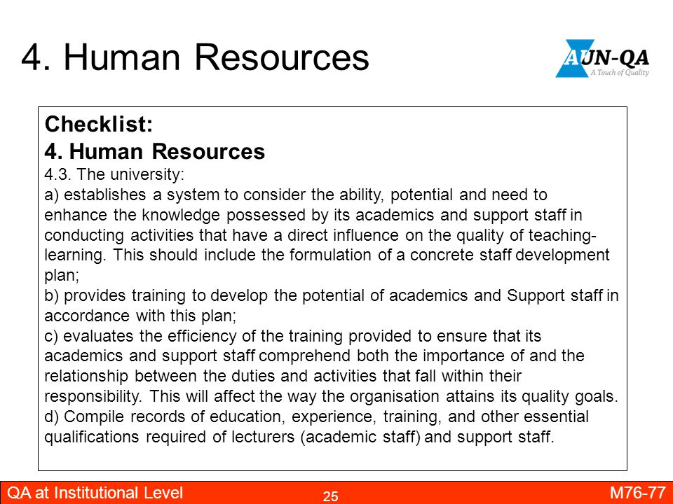 4. Human Resources Checklist: 4. Human Resources 4.3. The university: