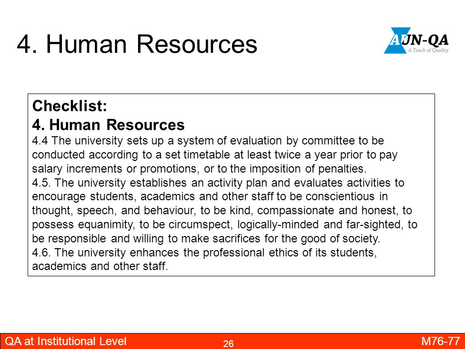 4. Human Resources Checklist: 4. Human Resources