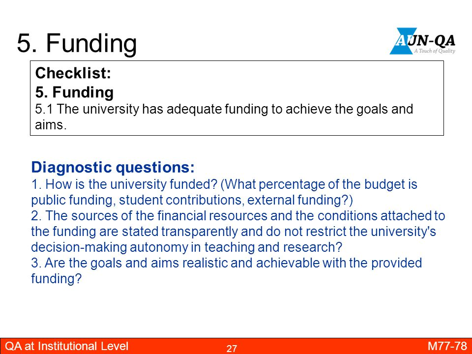 5. Funding Checklist: 5. Funding Diagnostic questions: