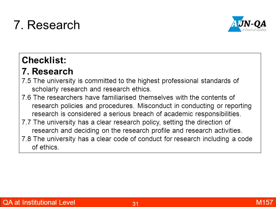 7. Research Checklist: 7. Research