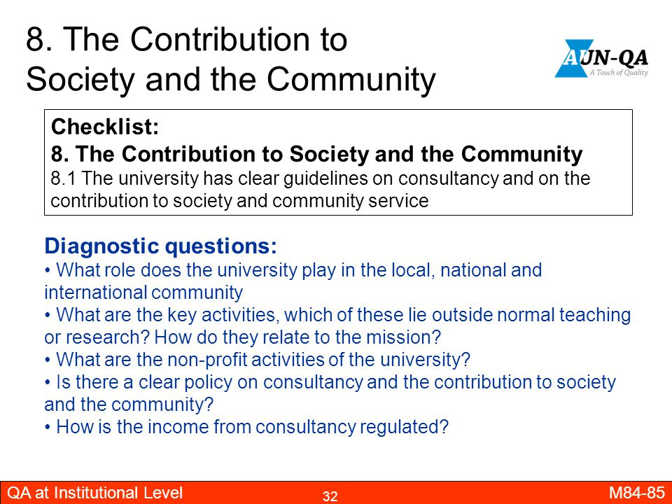 8. The Contribution to Society and the Community