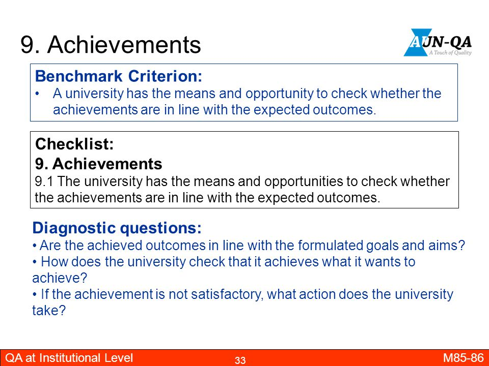 9. Achievements Benchmark Criterion: Checklist: 9. Achievements