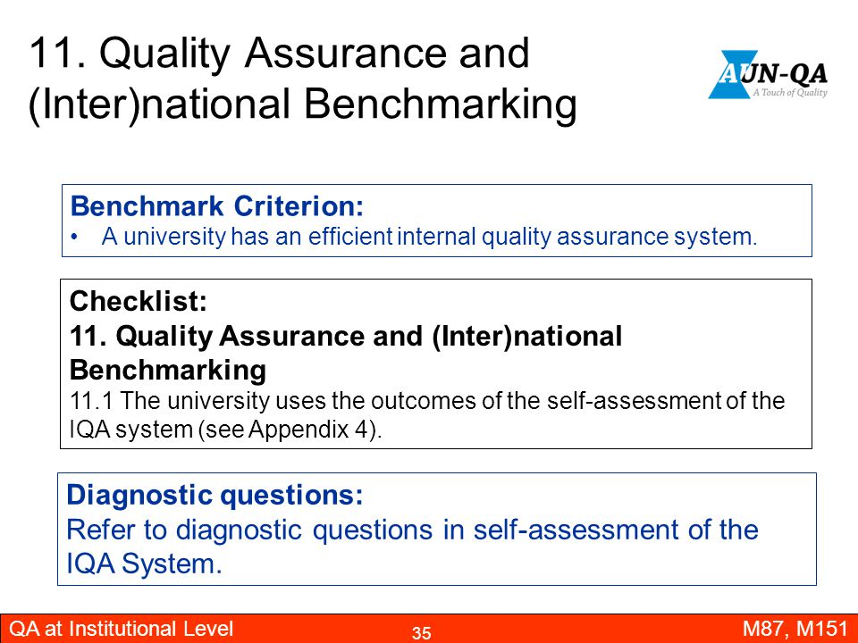 11. Quality Assurance and (Inter)national Benchmarking