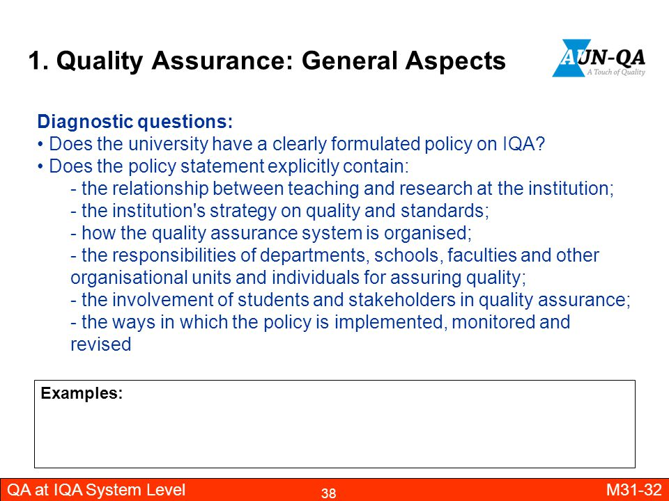 1. Quality Assurance: General Aspects
