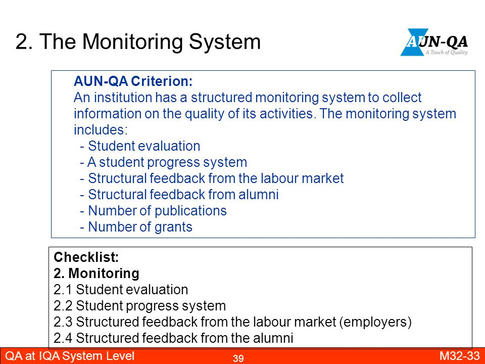 2. The Monitoring System AUN-QA Criterion: