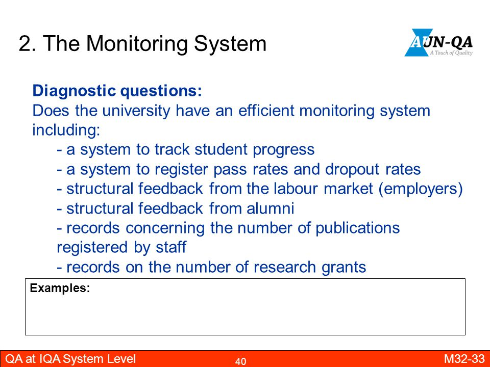 2. The Monitoring System Diagnostic questions: