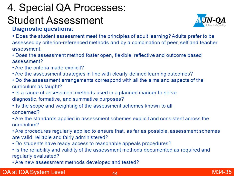 4. Special QA Processes: Student Assessment