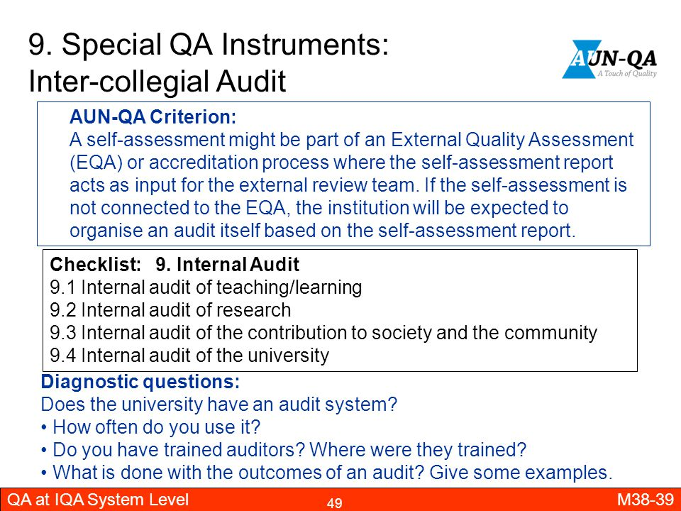 9. Special QA Instruments: Inter-collegial Audit