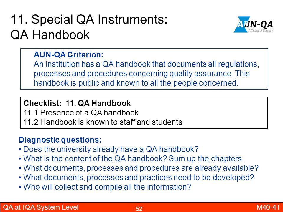 11. Special QA Instruments: QA Handbook