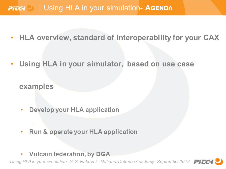 Using HLA in your simulation- Agenda