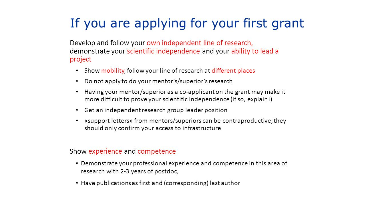 If you are applying for your first grant