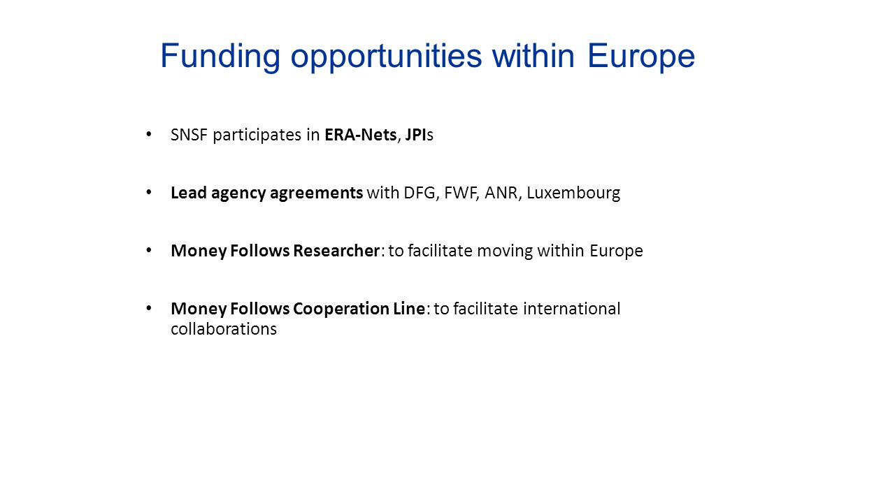 Funding opportunities within Europe