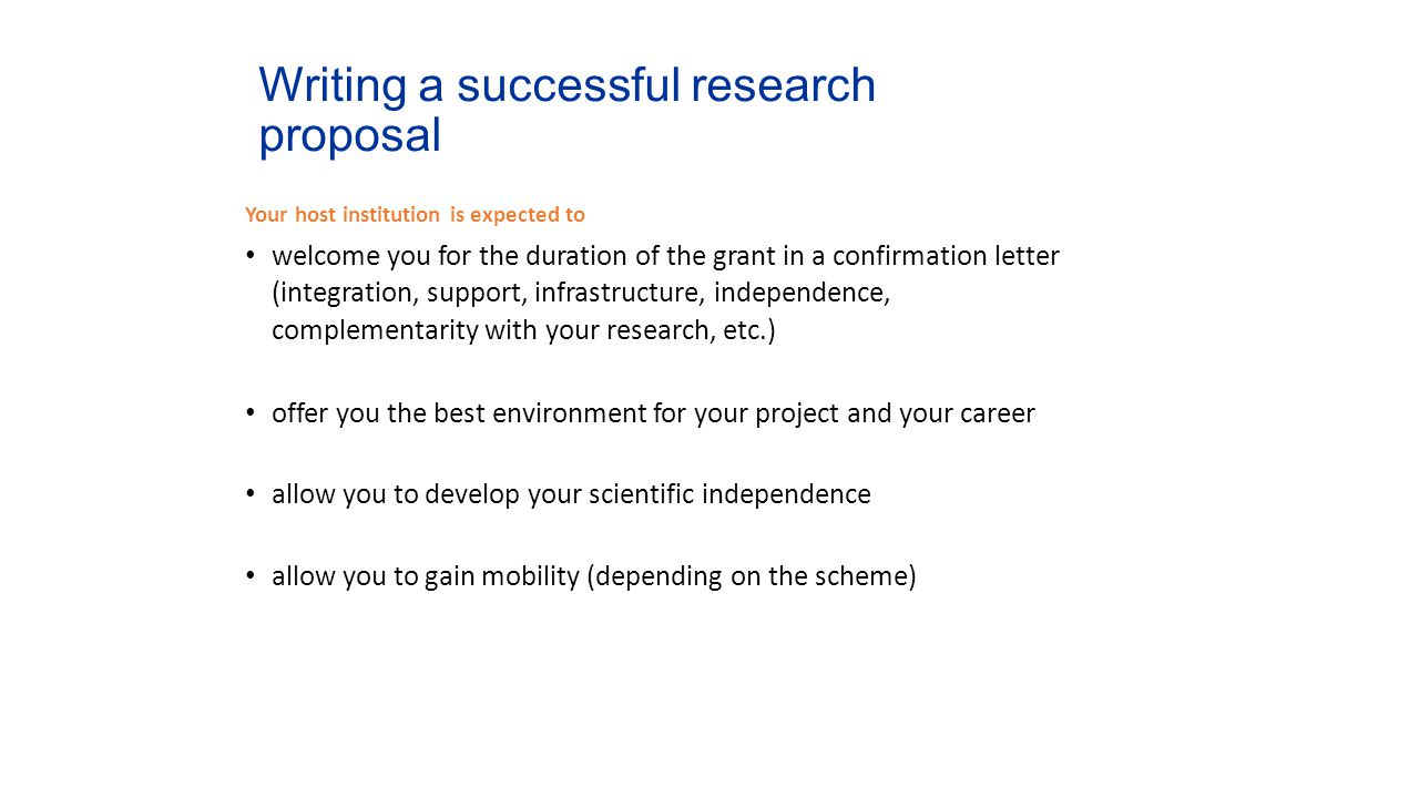 Writing a successful research proposal