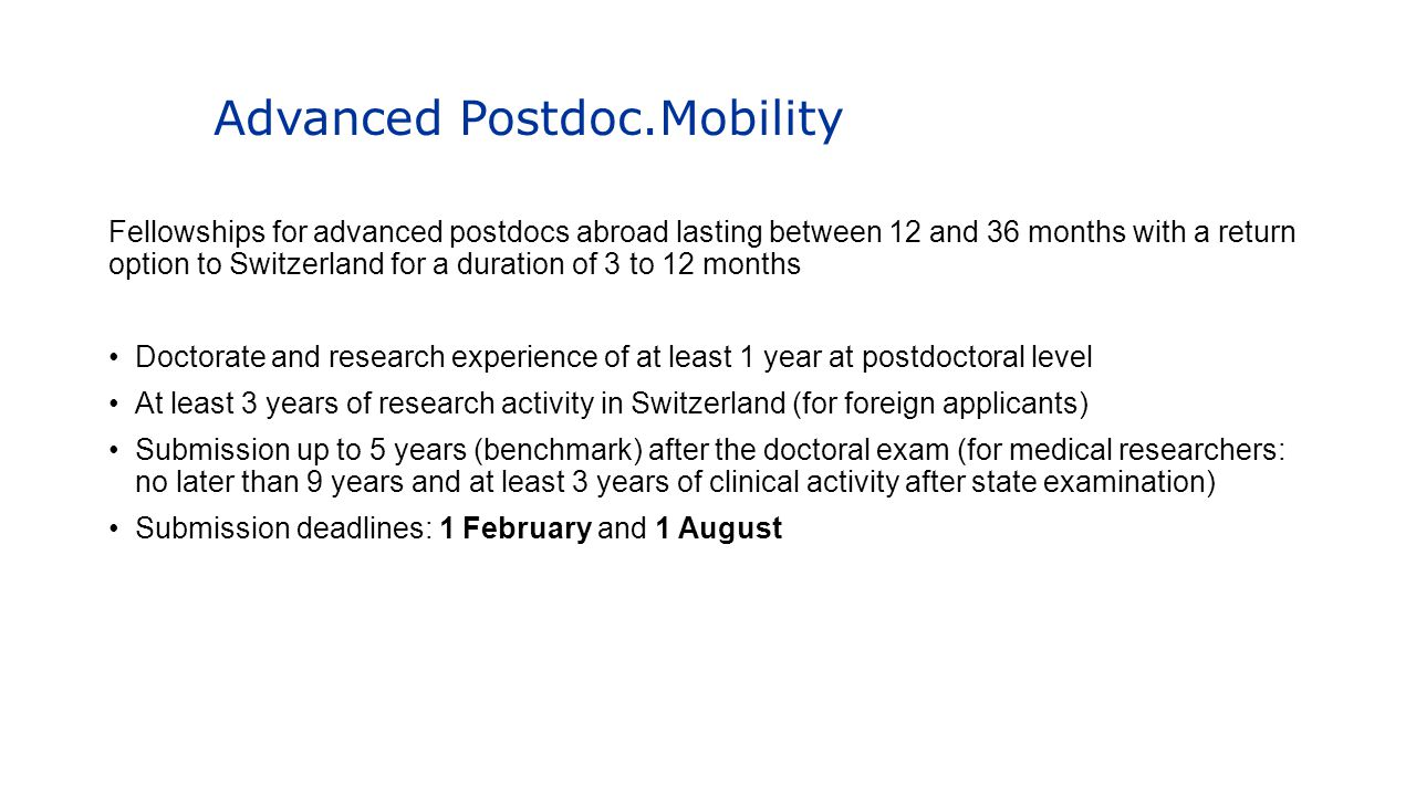 Advanced Postdoc.Mobility