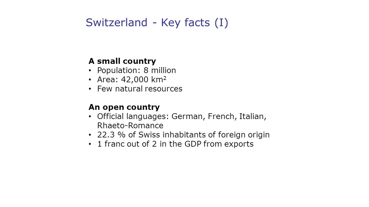 Switzerland - Key facts (I)