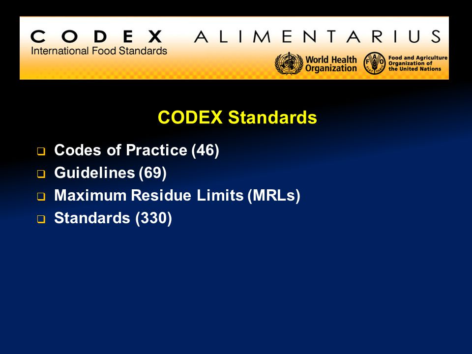CODEX Standards Codes of Practice (46) Guidelines (69)